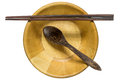 Wooden spoon, chopsticks and bowl Royalty Free Stock Photo