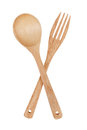 Wooden spoon and fork on white background Royalty Free Stock Photo