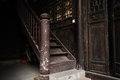 Wooden staircase of an ancient Chinese mansion Royalty Free Stock Photo