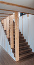 Wooden staircase close up of a Stock Images