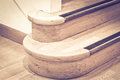 Wooden stairs close up of part of an interior staircase Royalty Free Stock Photo