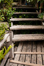 Wooden stairs old in tropics Stock Image
