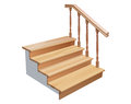 Wooden stairs vector cross section on white background Stock Photos