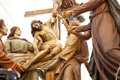 Wooden statue of christ deposition photo the Royalty Free Stock Image