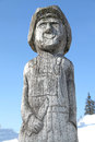 Wooden statue in ski centre smrekovica slovakia february on february Royalty Free Stock Image