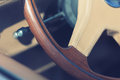 Wooden steering wheel of antique luxury car Royalty Free Stock Image