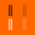 Wooden step ladder  black and white set icon . Royalty Free Stock Photo