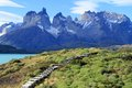 Wooden steps hikers exploring wilderness patagonia south america Stock Images