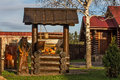 Wooden structures and characters of fairy tales russian Royalty Free Stock Image