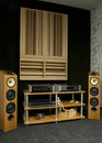 Wooden styled hi-fi system Royalty Free Stock Images
