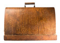 Wooden suitcase white isolated studio shot Royalty Free Stock Photo