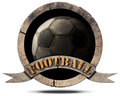 Wooden Symbol with Soccer Ball Royalty Free Stock Photo