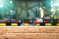 Wooden table with bar beer blurred background Royalty Free Stock Photo