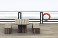 Wooden table and benches Royalty Free Stock Photo