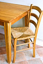 Wooden Table and Chair Royalty Free Stock Photo