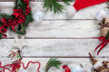 The wooden table with Christmas decorations Royalty Free Stock Photo