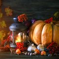 The wooden table decorated with vegetables, pumpkins and autumn leaves. Autumn background. Schastlivy von Thanksgiving Royalty Free Stock Photo