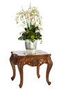 Wooden table with flowers isolated on white background Stock Photography