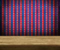 Wooden table top with red blue stripes background Stock Photo