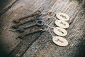 Wooden tags with domain names Royalty Free Stock Photo