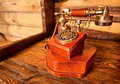 Wooden telephone Royalty Free Stock Image