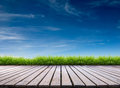 Wooden terrace and blue sky Royalty Free Stock Photo