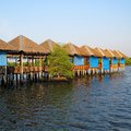 Wooden terrace in lake thailand Royalty Free Stock Photo