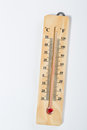 Wooden thermometer on white Royalty Free Stock Photo
