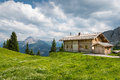 Wooden timber chalet house on austrian mountains Royalty Free Stock Photo