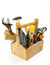 Wooden tool box at work on a white background Royalty Free Stock Photography