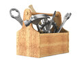 Wooden toolbox with tools Royalty Free Stock Photo