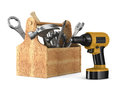 Wooden toolbox with tools Stock Photo