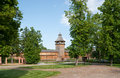 The wooden tower restorated citadel of baturyn town which is part of monumental complex hetmans capital ukraine Royalty Free Stock Photo