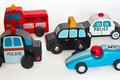 Wooden toy cars this made indoors under artificial light was used a tripod and special lamps Stock Photography