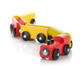 Wooden toy colored train Stock Photography