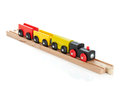 Wooden toy colored train Stock Photos