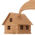 Wooden toy house with smoke isolated on white Royalty Free Stock Image
