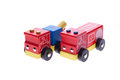 Wooden toy tow truck and fire truck Stock Photos