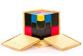 Wooden toys for children on white background Royalty Free Stock Photos
