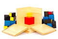 Wooden toys for children on white background Royalty Free Stock Image