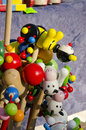 Wooden toys on a stick sold in outdoor fair. Royalty Free Stock Photo