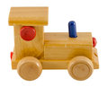 Wooden train toy color detail isolated on white