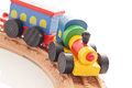 Wooden Train On Tracks Royalty Free Stock Photo