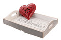 Wooden tray bed breakfast red heart Stock Photo