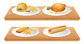 Wooden trays with plates of foods illustration two on a white background Stock Images