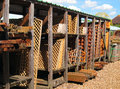 Wooden trellis or fencing for sale. Royalty Free Stock Photo