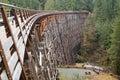 Wooden trestle kinsol bridge vancouver island bc canada Stock Photography