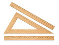 Wooden triangle school rulers set isolated Stock Image