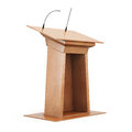 Wooden tribune  on white background. 3d render image Royalty Free Stock Photo