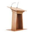 Wooden tribune  on white background. 3d render image Royalty Free Stock Photo